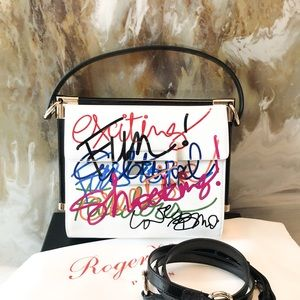 Roger Vivier Miss Viv White Patent Graffiti Bag